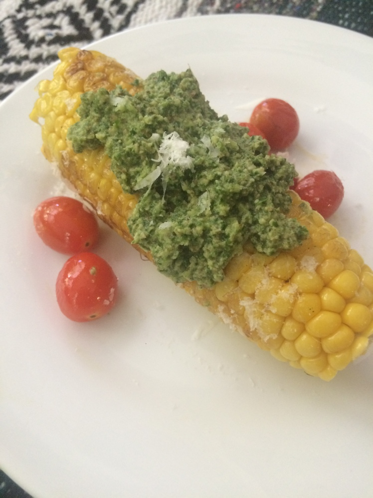 dandelion pesto on grilled corn with tomatoes 2